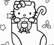 Coloring pages Hello Kitty christmas in Winter