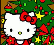 Coloring pages Hello Kitty Christmas multicolor to download