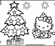 Coloring pages Hello Kitty christmas to download