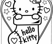 Coloring pages Hello Kitty cute for Christmas