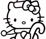 Coloring pages Hello Kitty easy in black