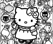 Coloring pages Hello Kitty Maternal Christmas