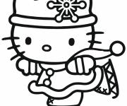 Coloring pages Hello Kitty skates