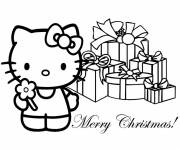 Coloring pages Hello Kitty Stylized Christmas Gifts