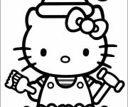 Coloring pages Hello Kitty wears Santa Hat