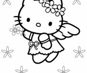Coloring pages Hello Kitty Angel and full
