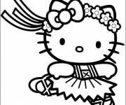 Coloring pages Hello Kitty classical dancer online
