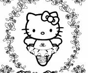 Coloring pages Hello Kitty dancer