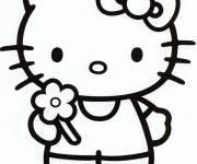 Coloring pages Hello Kitty offers a flower