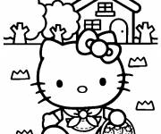 Coloring pages Hello Kitty picks strawberries
