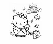 Coloring pages Hello Kitty Princess and the Animals