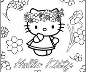 Coloring pages Hello Kitty Princess and The Flowers