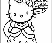 Coloring pages Hello Kitty Princess for Children