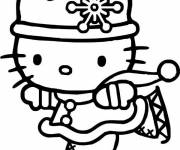 Coloring pages Hello Kitty Princess Skier