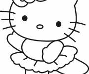 Coloring pages Hello Kitty Simple dancer