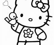Coloring pages Hello Kitty Stylized Princess