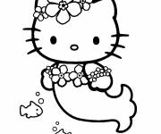 Coloring pages Hello Kitty as a little mermaid