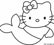 Coloring pages Hello Kitty Easy Mermaid