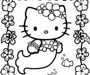 Coloring pages Hello Kitty Flower Mermaid