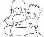 Printable Homer and Bart Simpson free sheets coloring page