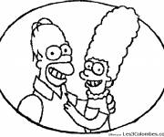 Coloring pages Homer and his wife Marge Simpson