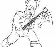 Coloring pages Homer plays a guitar instrument