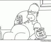 Coloring pages Lazy homer simpson