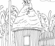 Coloring pages African boy on his little house