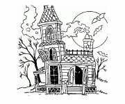 Coloring pages Halloween house