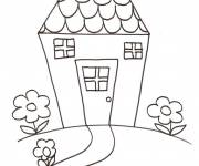 Coloring pages House with garden