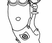 Coloring pages Minion Kevin likes Ice Cream