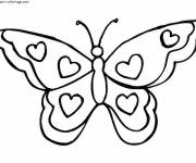 Coloring pages Butterfly decorated with Hearts