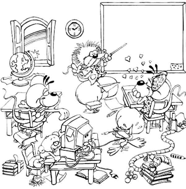 Free coloring and drawings A funny humorous class Coloring page