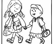 Free coloring and drawings Children heading for school Coloring page