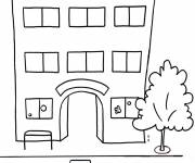 Free coloring and drawings Kindergarten building Coloring page