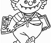 Free coloring and drawings Little Ogra and Back to school Coloring page