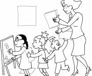 Free coloring and drawings Mistress and pupils at school Coloring page