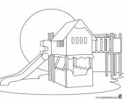 Free coloring and drawings School and play area Coloring page