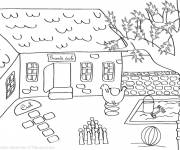 Free coloring and drawings Schoolyard in color Coloring page