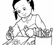 Free coloring and drawings Student draws A Flower Coloring page