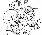 Free coloring and drawings Students have a snack Coloring page