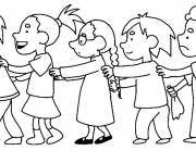 Free coloring and drawings Students in a row Coloring page