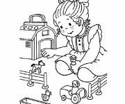 Free coloring and drawings A Girl and her Kindergarten Toys Coloring page