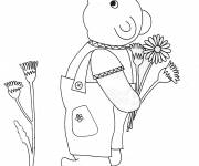 Free coloring and drawings Bear and Kindergarten Flowers Coloring page