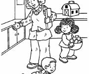 Free coloring and drawings Mother and her little Kindergarten Coloring page