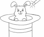 Free coloring and drawings rabbit and magic hat Coloring page