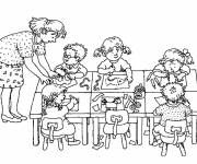 Free coloring and drawings School kindergarten class Coloring page