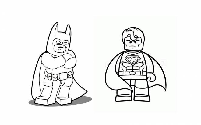 Free coloring and drawings Lego Batman and Super Man Coloring page
