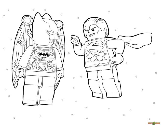 Free coloring and drawings Lego Heroes Batman and Super Man Coloring page