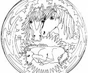 Coloring pages Mandala Horses to be colored